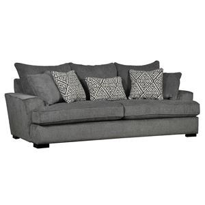 Contemporary Sofa with Five Toss Pillows