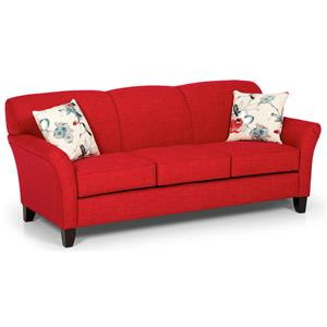 Contemporary Sofa with Flared Arms and Tapered Feet