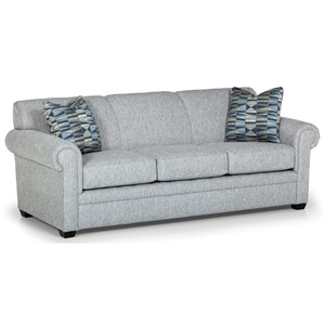 Transitional Sofa with Rolled Arms and Tapered Feet