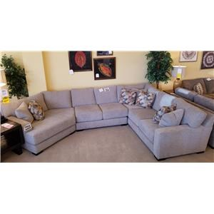 3 Piece Sectional with Cuddler in Teresa Platinum