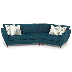 Mid Century Modern 2-Piece Sectional Sofa with Right Cuddler Chair