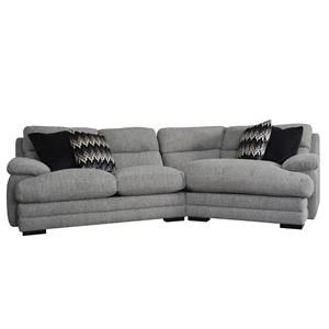Casual 2 Piece Sectional Sofa with Blendown Cushions