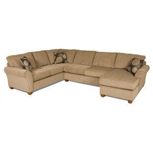 Casual Style L-Shaped Sectional with Chaise