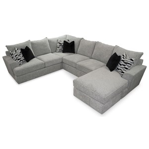 Contemporary 5-Seat Sectional Sofa with RAF Chaise Lounge