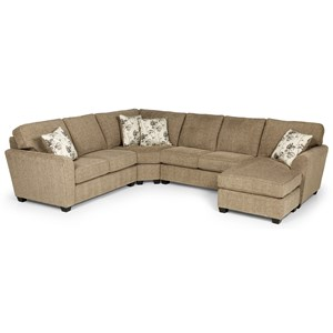 Casual 5-Seat Sectional Sofa with LAF Sleeper and Basic Mattress
