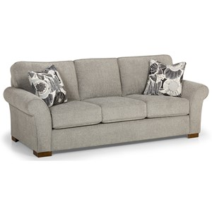 Casual Sofa with Rolled and Flared Arms