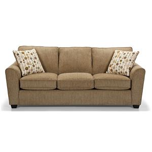 Casual Queen Basic Sleeper Sofa with Rounded Flair Arms