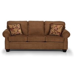 Traditional Three Over Three Sofa with Rolled Arms