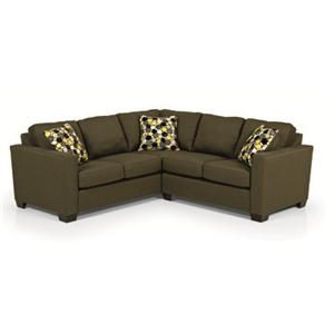 Contemporary Two Piece Sectional Sofa with Track Arms