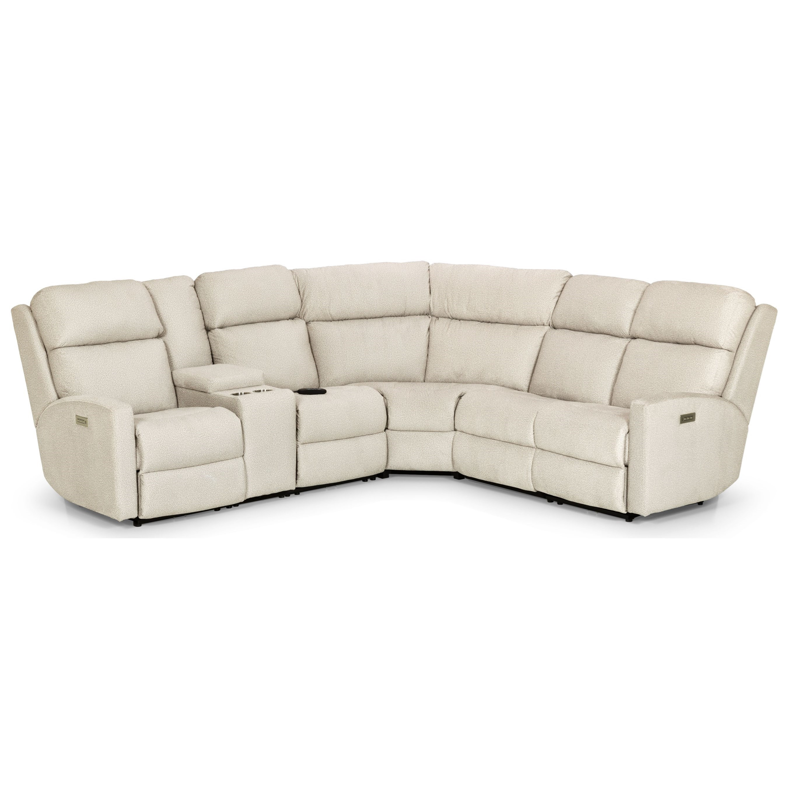 857 4-Seat Pwr Recl Sectional w/ Pwr Head/Lumbar by Stanton at Wilson's Furniture