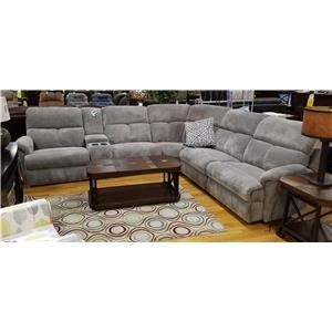 Six Piece Power Reclining Sectional Sofa with Cupholder Console and Power Head/Lumbar