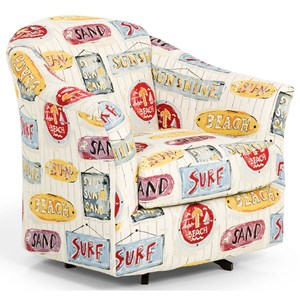 Casual Swivel Chair with Barrel Back