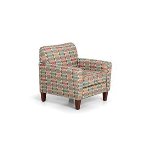 Transitional Upholstered Accent Chair with Exposed Wood Legs