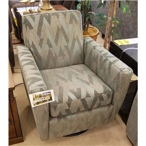 Contemporary Upholstered Swivel Chair with Track Arms