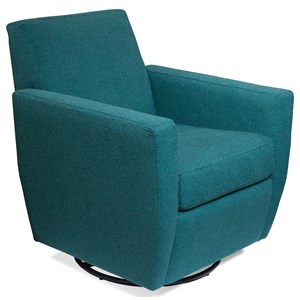 Contemporary Upholstered Swivel Glider Chair with Track Arms