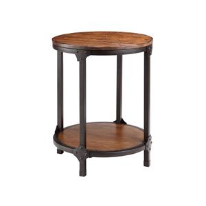Round Wood & Metal End Table