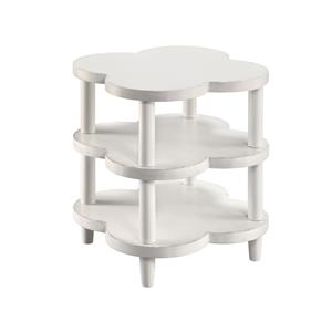 2-Shelf White End Table