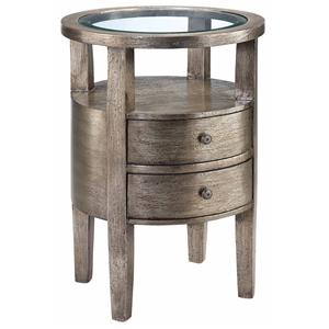 Round Accent Table w/ Glass Insert Top
