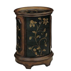 Brown and Black Oval End Table with Floral Motif