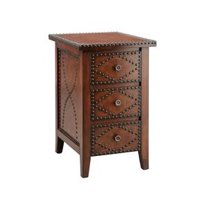 Chairside 3 Drawer Brown With Nailhead