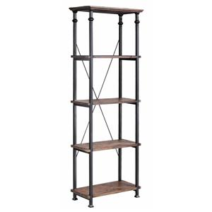 Metal Bookcase w/ 4 Wood Shelves