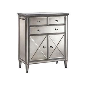 Mirrored 2-Door, 3-Drawer Cabinet