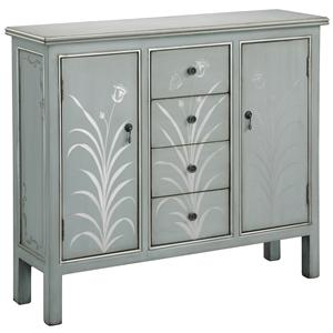 Two Door Silver Blue Accent Cabinet