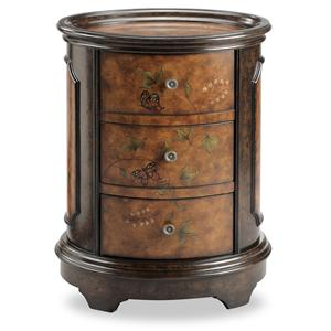 Oval Accent Table with Butterfly Motif