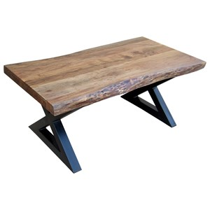 Rectangular Cocktail Table with Wood Top and Metal X Legs