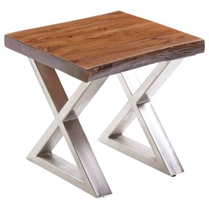End Table with Wood To and Metal X Legs