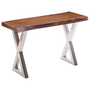 Wood Top Sofa Table with Metal X Legs