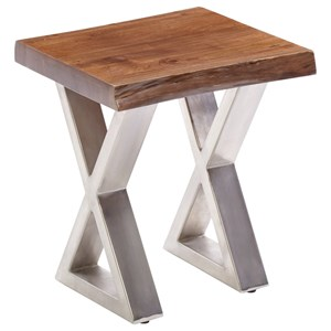 Wood Top Chairside Table with Metal Legs