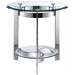 Round End Table w/ Glass Top