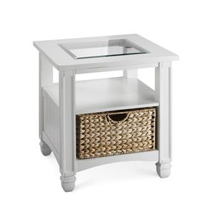 Glass Top End Table with Storage