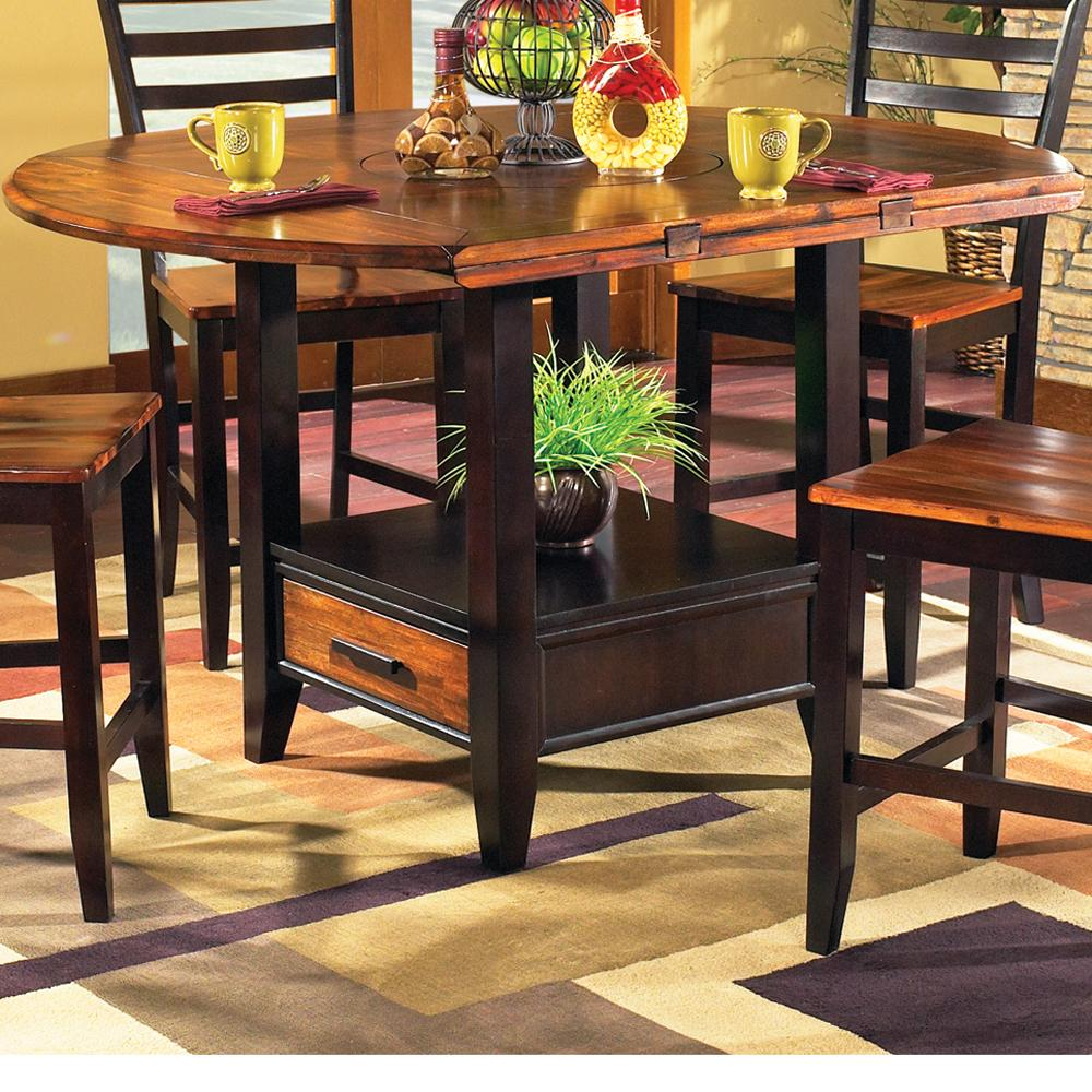 """Abaco 59"""" Round Drop Leaf Counter Table by Steve Silver at Walker's Furniture"""