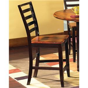 Solid Wood 2-Tone Ladder Back Counter Stool