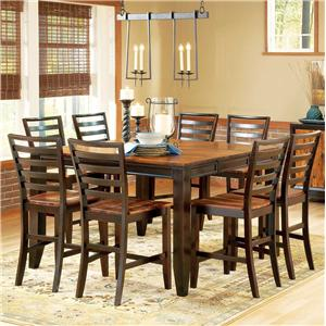 "9-Piece Gathering Table Set, 54"" Square Leg Table, Ladder Back Stools"