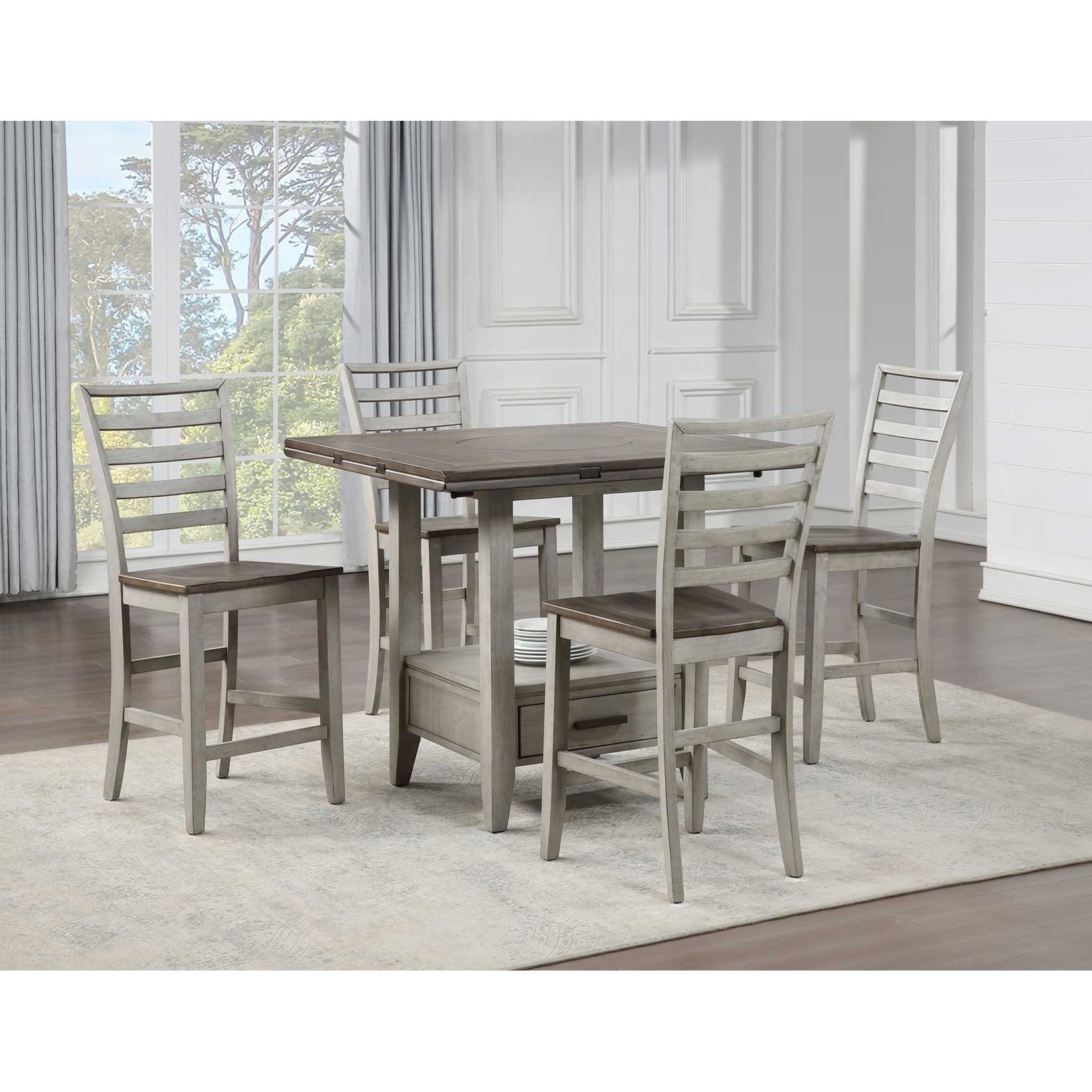 Abacus 5-Piece Counter Table and Chair Set by Steve Silver at Dunk & Bright Furniture