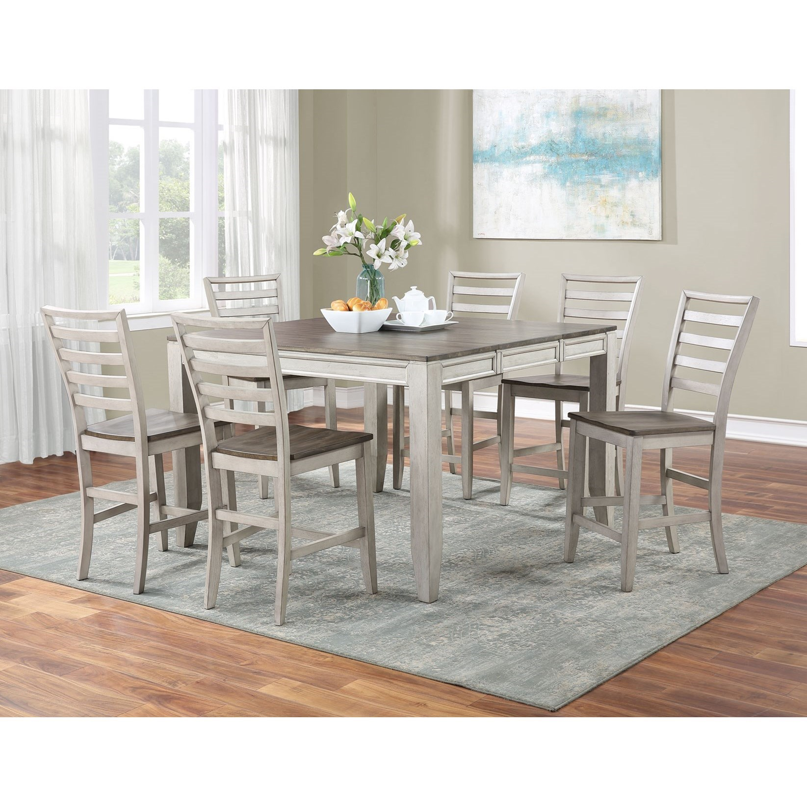 Abacus 7-Piece Counter Table and Chair Set by Steve Silver at A1 Furniture & Mattress