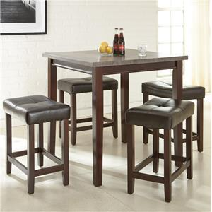 5 Piece Counter Table Set with Cushioned Stools