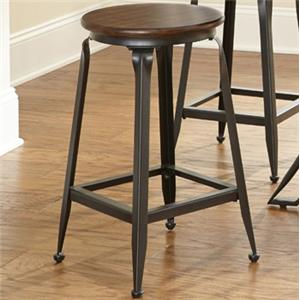 Counter Stool with Wood Seat and Metal Base