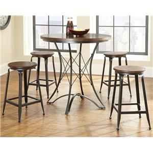 Industrial Counter Height Dining Set with Metal Bases