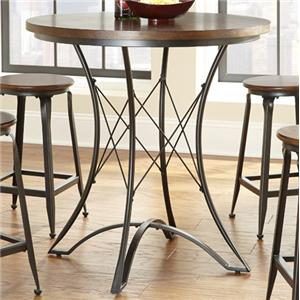 Round Counter Table with Geometric Metal Pedestal