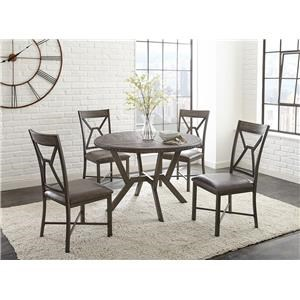 5PC Pedestal Dining Table & Chair Set