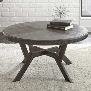 Round Cocktail Table with Exposed Rivets