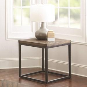 Industrial End Table with Diamond Veneer Top
