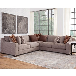 Contemporary 3-Piece Sectional with 9 Accent Pillows