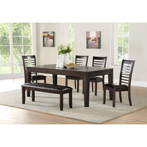 Casual 6 Piece Table and Chair Set with Bench
