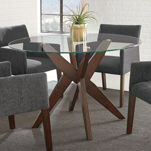 Contemporary Dining Table with Tempered Glass Top