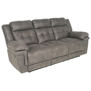Casual Reclining Sofa with Tufted Back